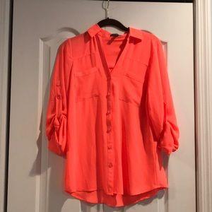 Express Neon Orange Portafino Top